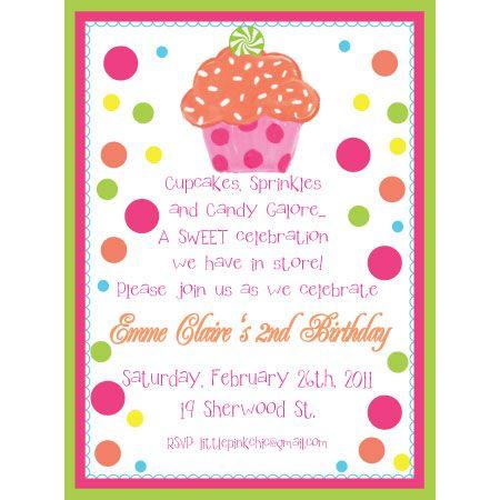cupcake delight birthday invitation-cupcake, cake, polka dots, Birthday invitations