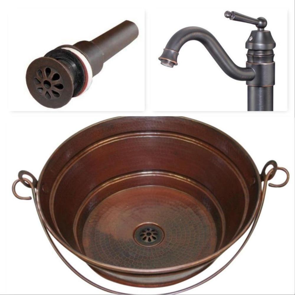 Details About 15 Quot Rustic Copper Bucket Vessel Bath Sink
