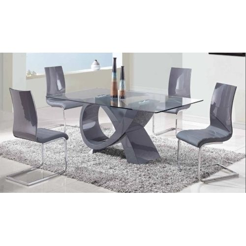 The Pablo Dining Table Has A Tempered Clear Glass Top And A Mdf Base Covered In Modern Glass Dining Table Contemporary Dining Room Sets Modern Dining Room Set