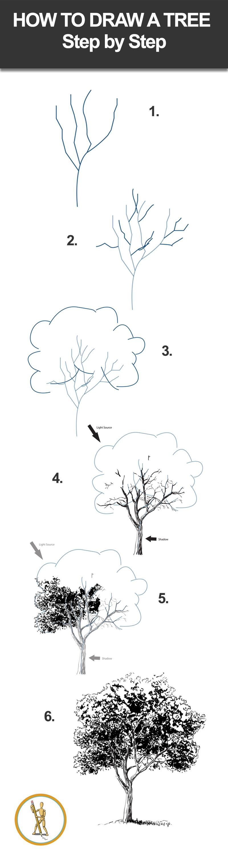 How To Draw A Tree Step By Step #drawinglessons