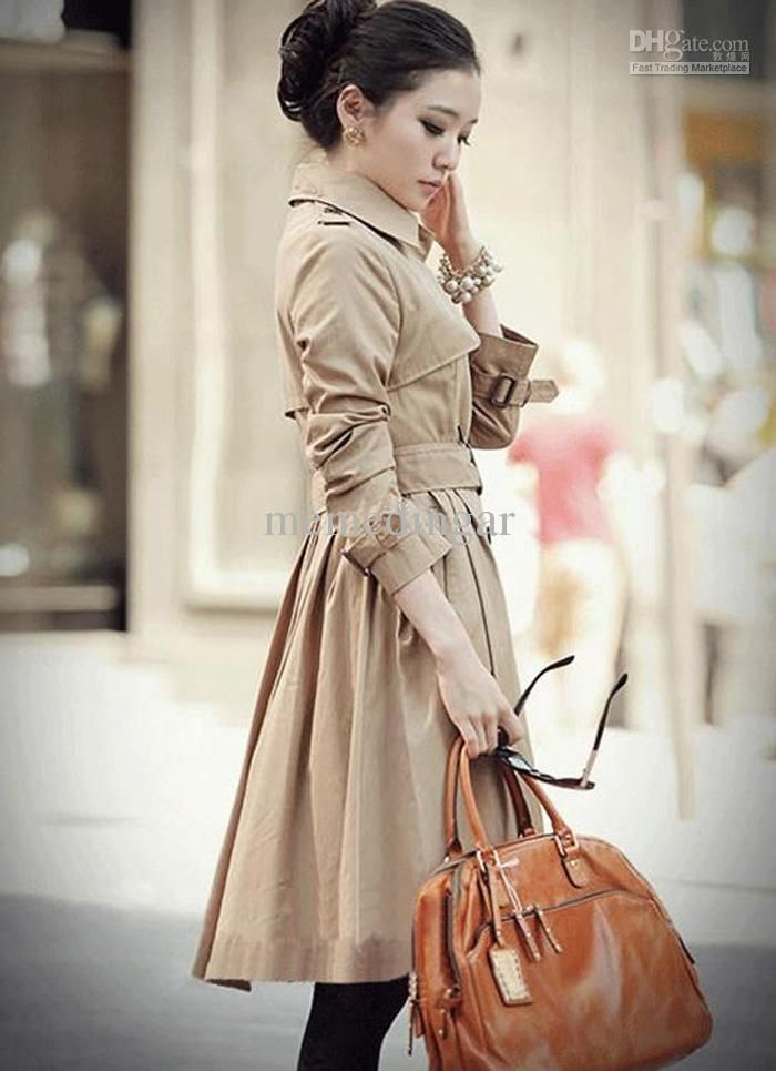 Women's trench coat wind-coat lady's long coat outerwear lady's ...