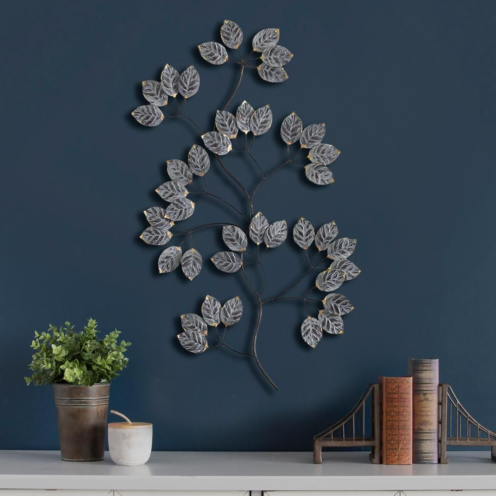 327df3f79e Stratton Home Decor Touch of Gold Metal Leaves Wall Decor, Grey Gold