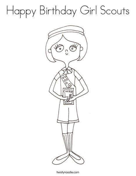 Happy Birthday Girl Scouts Coloring Page Twisty Noodle Girl