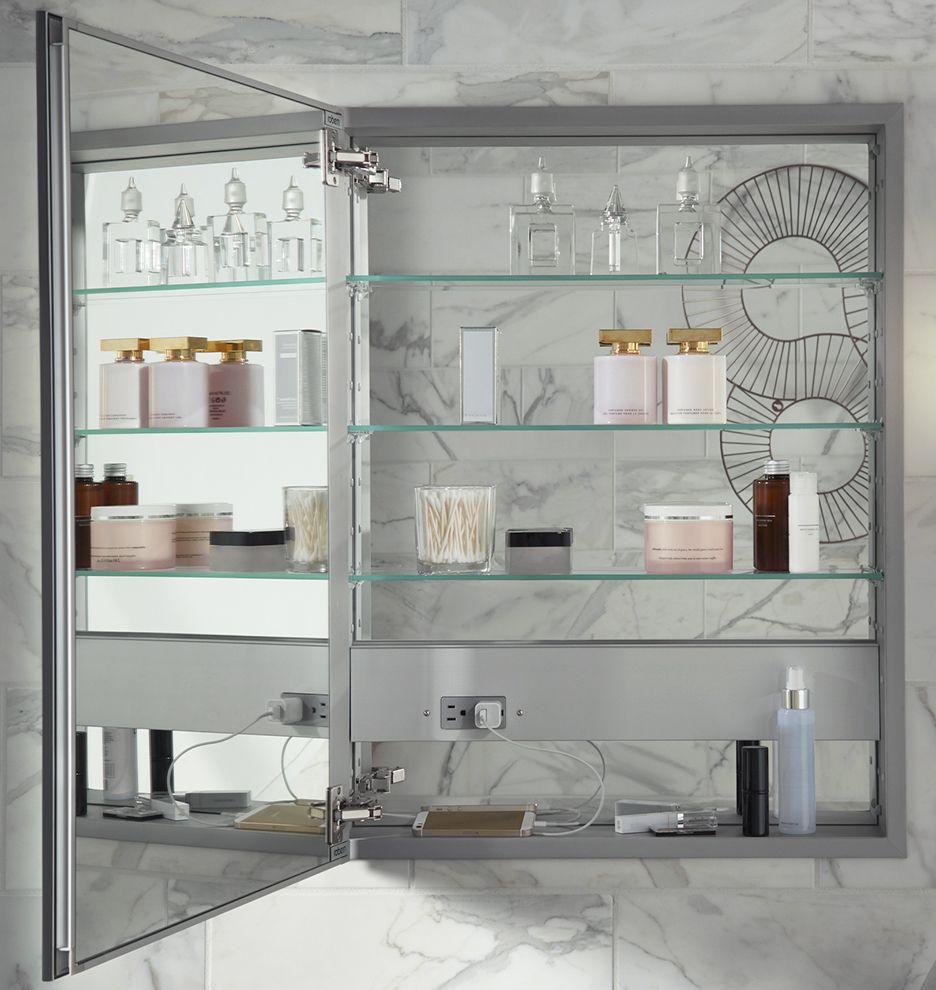 Framed Electric Medicine Cabinet Brushed Nickel Brushed Nickel