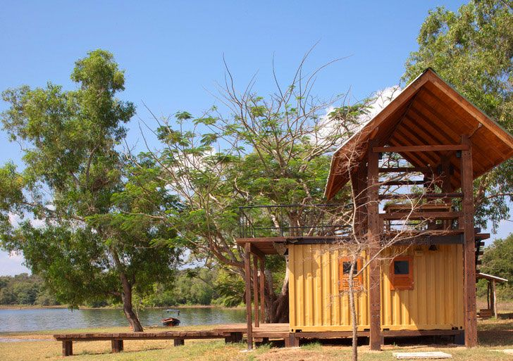 Maduru Oya is a Cheery Yellow Shipping Container Cabana in the Sri - combien coute une maison en autoconstruction