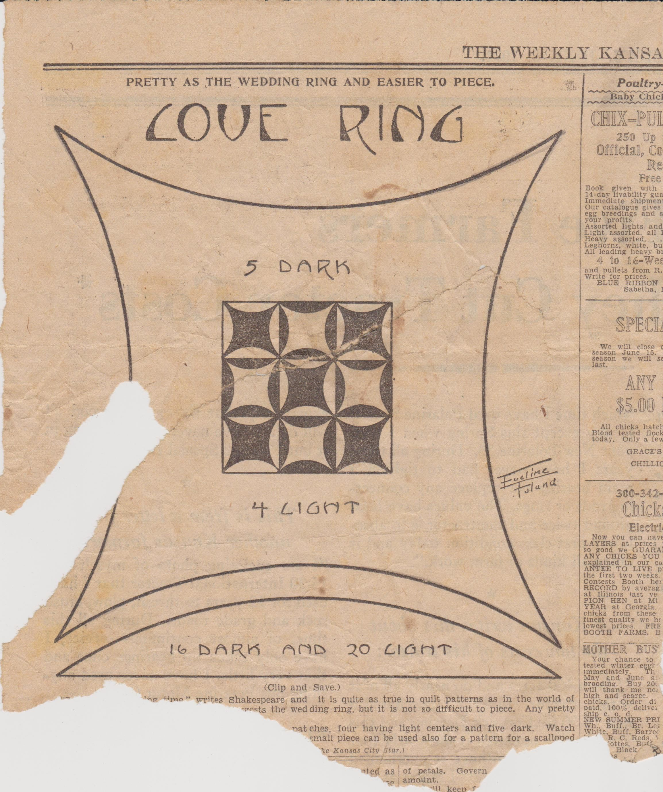Love Ring quilt pattern from The Weekly Kansas City Star June 3 ... : kansas city star quilt patterns free - Adamdwight.com