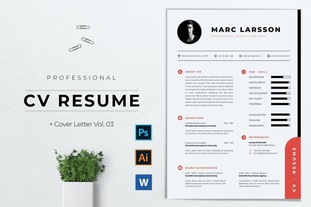 CV Resume by youwes on Envato Elements in 2020 Cv resume