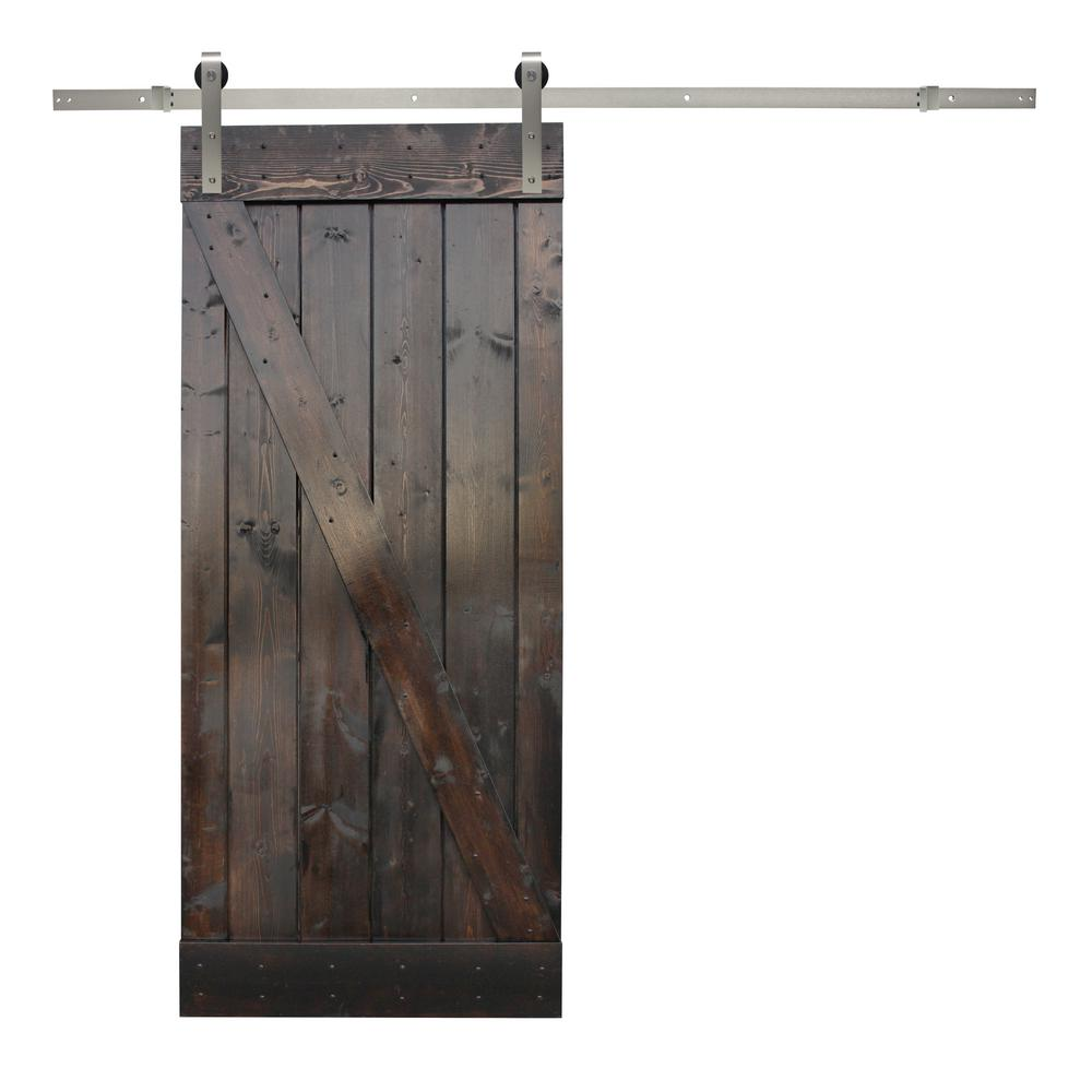 Calhome 36 In X 84 In Dark Chocolate Stain Wood Sliding Barn Door With Stainless Steel Hardware Kit Silver Glass Barn Doors Barn Style Sliding Doors Wood Barn Door