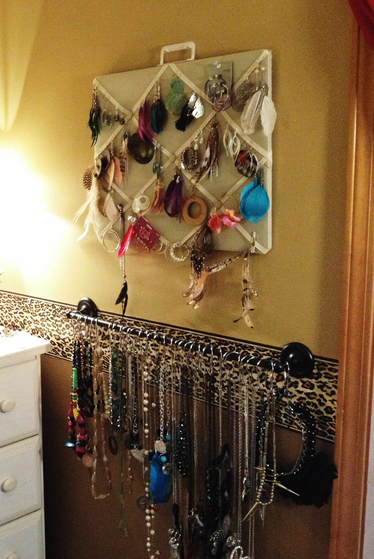 Diy jewelry organizer i bought the towel rod at walmart