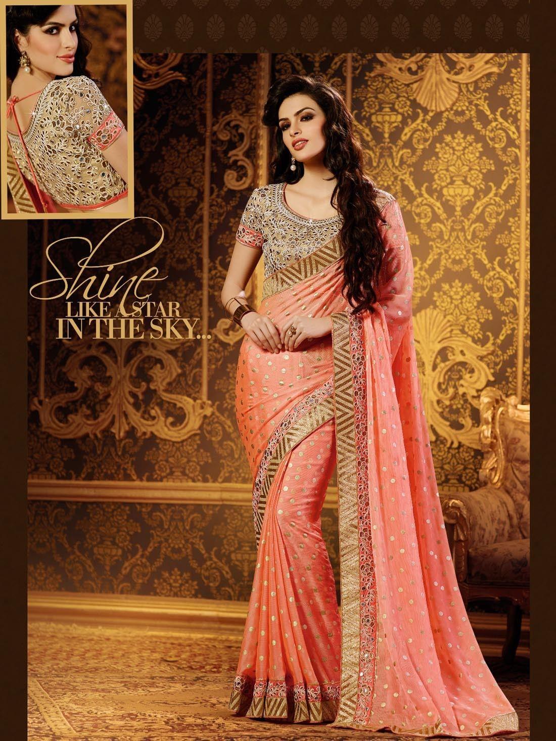 Peach color saree for wedding peach color designer embroidered saree blouse sb  designer