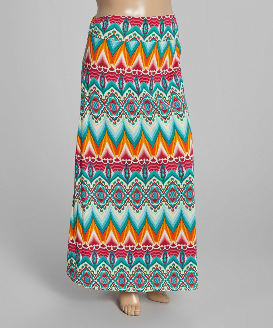 Loving this Teal Arabesque Fold-Over Maxi Skirt - Plus on #zulily! #zulilyfinds