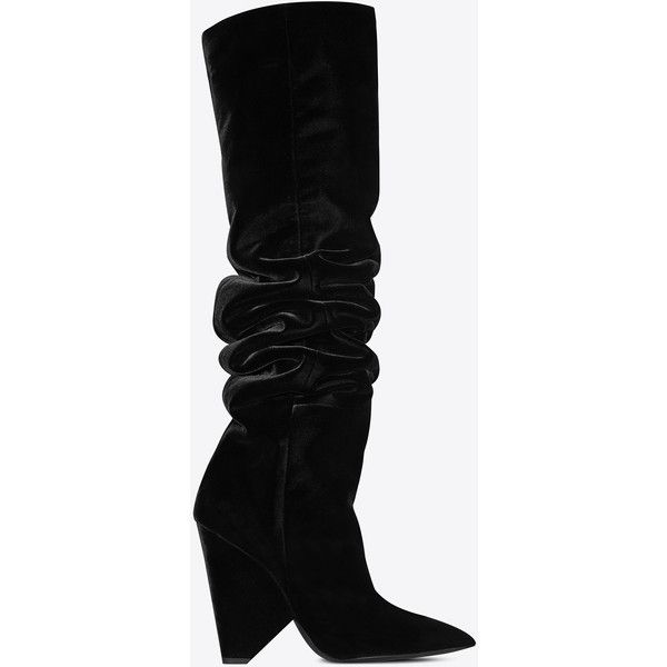 Saint Laurent Niki 105 Thigh-high Boot found on Polyvore featuring polyvore, women's fashion, shoes, boots, scrunch boots, thigh-high boots, yves saint laurent, ruched boots and over-the-knee boots