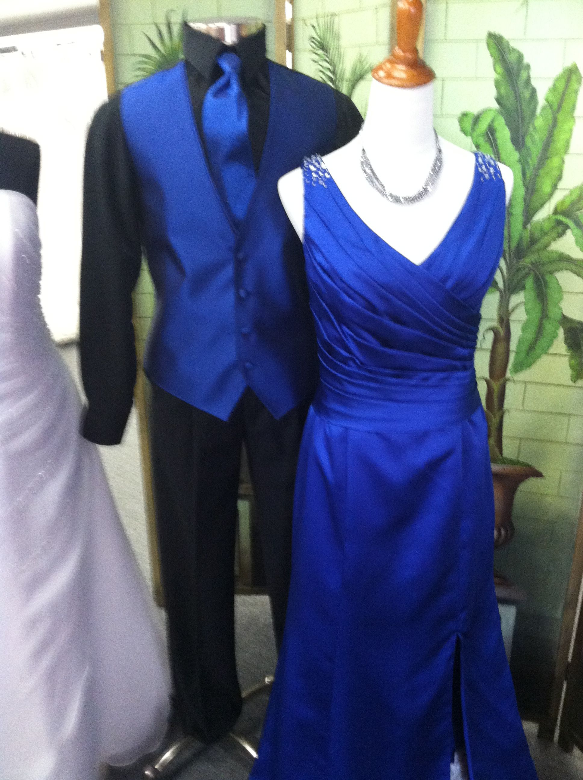 Royal blue bridesmaid or informal dress by DaVinci with royal blue and black tuxedo