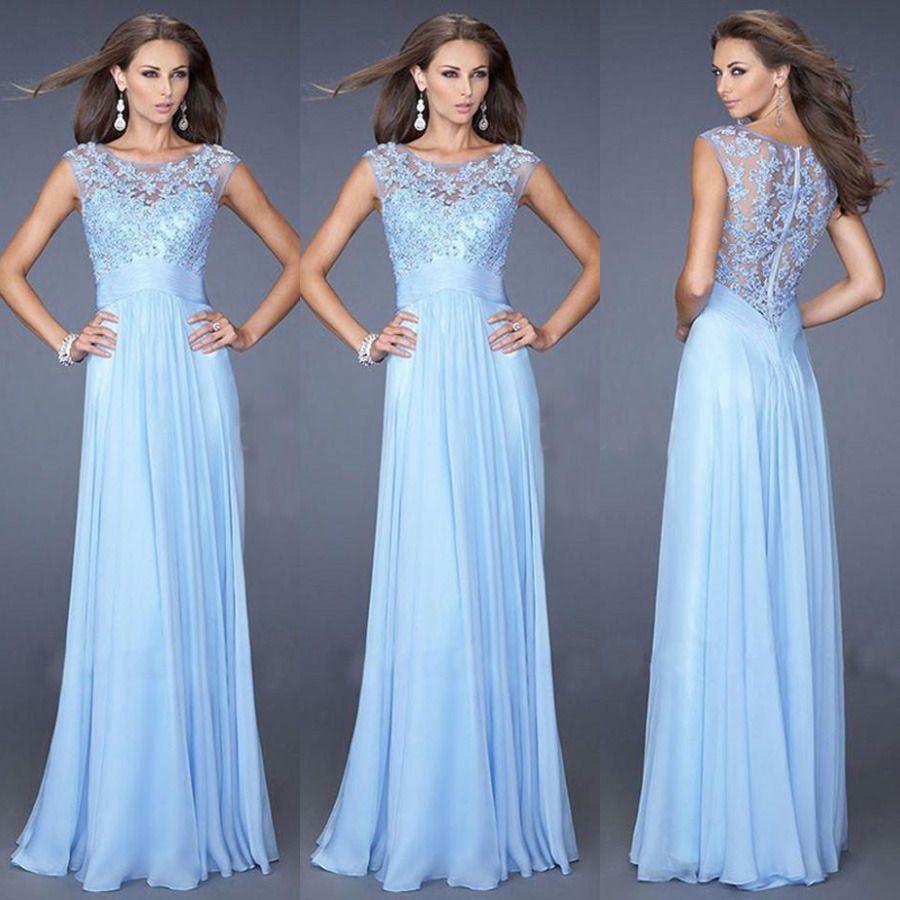 Blau Spitze Lange Boho Abendkleid Brautjungfer AbschlussballKleid