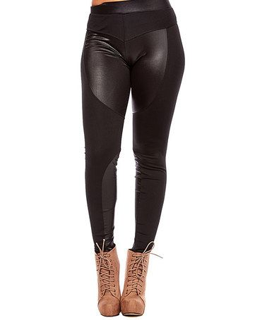 Love this Black Reverse Biker Panel Leggings on #zulily! #zulilyfinds