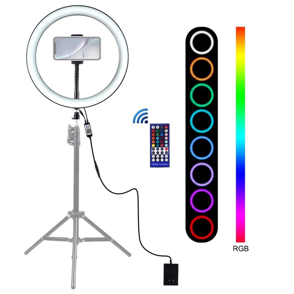 Puluz Pu411 12 Inch 6000 6500k Dimmable Led Rgb Video Ring Light Remote Control For Selfie Vlog Tik Tok In 2020 Led Selfie Ring Light Selfie Ring Light Dimmable Led