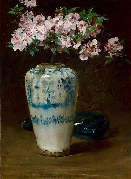 """Pink Azalea—Chinese Vase"" -- 1880-90 -- William Merritt Chase -- American -- Oil on wood -- The Metropolitan Museum of Art."