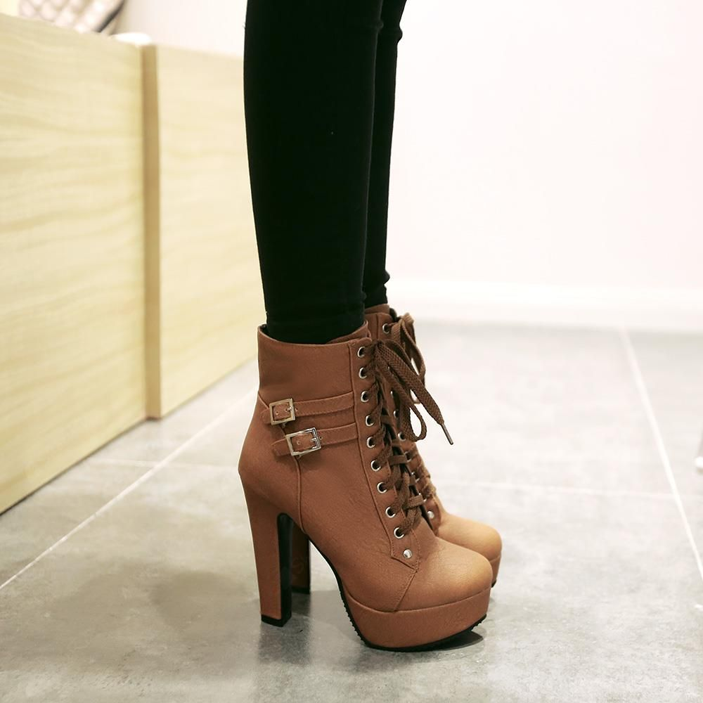 lace up chunky heel ankle boots schuhe abs tze und hohe schuhe. Black Bedroom Furniture Sets. Home Design Ideas