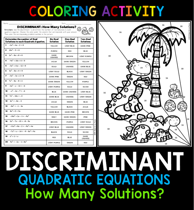 Quadratic Equations Discriminant Coloring Activity