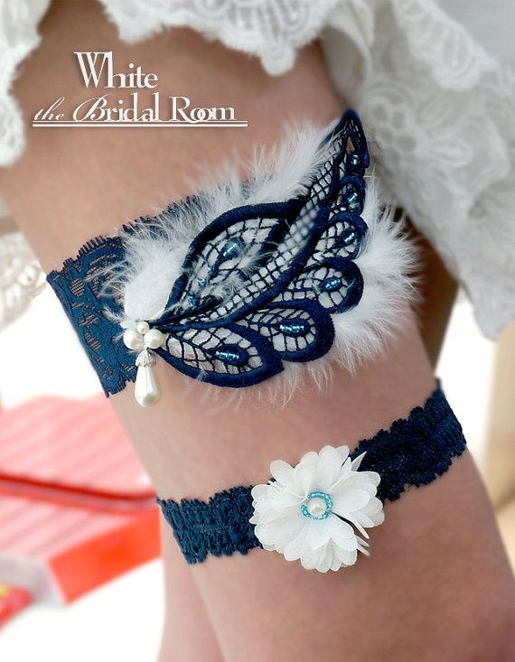 Navy Blue Pearl Lace Bridal Garter With White Feather Wedding Set