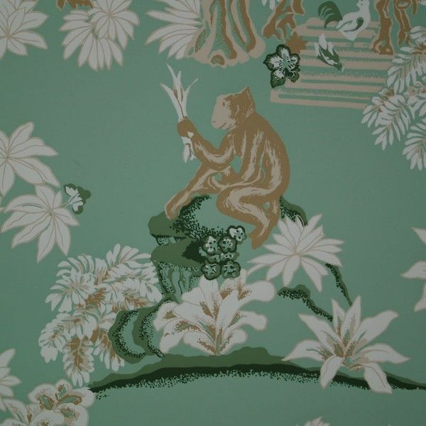 Bob Collins and Sons Jade Monkey Business Wallpaper ($485) ❤ liked on Polyvore featuring home, home decor, wallpaper, monkey home decor, pattern wallpaper and garden wallpaper