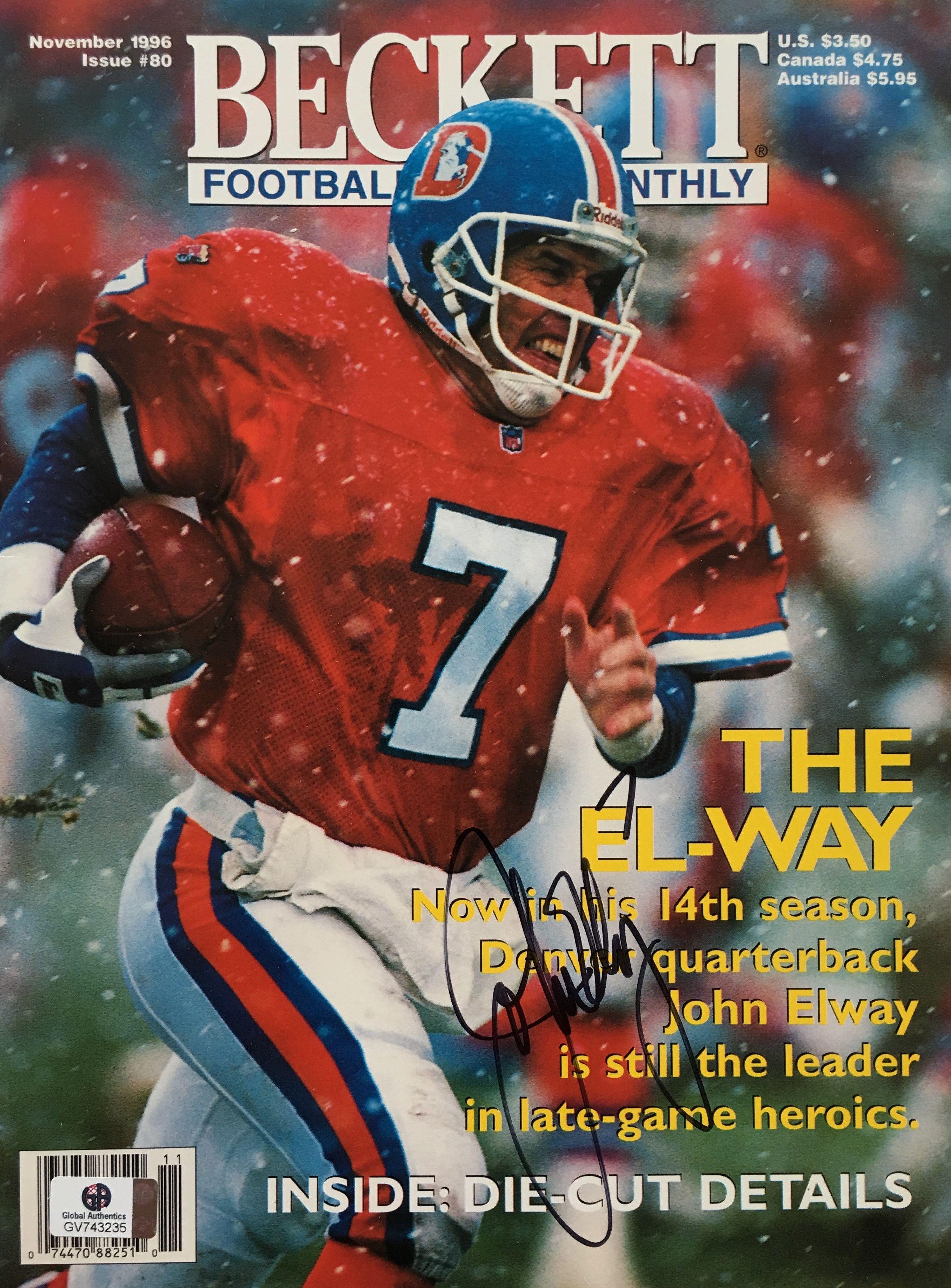 1287091a436 John Elway Denver Broncos Signed Beckett Magazine 1996