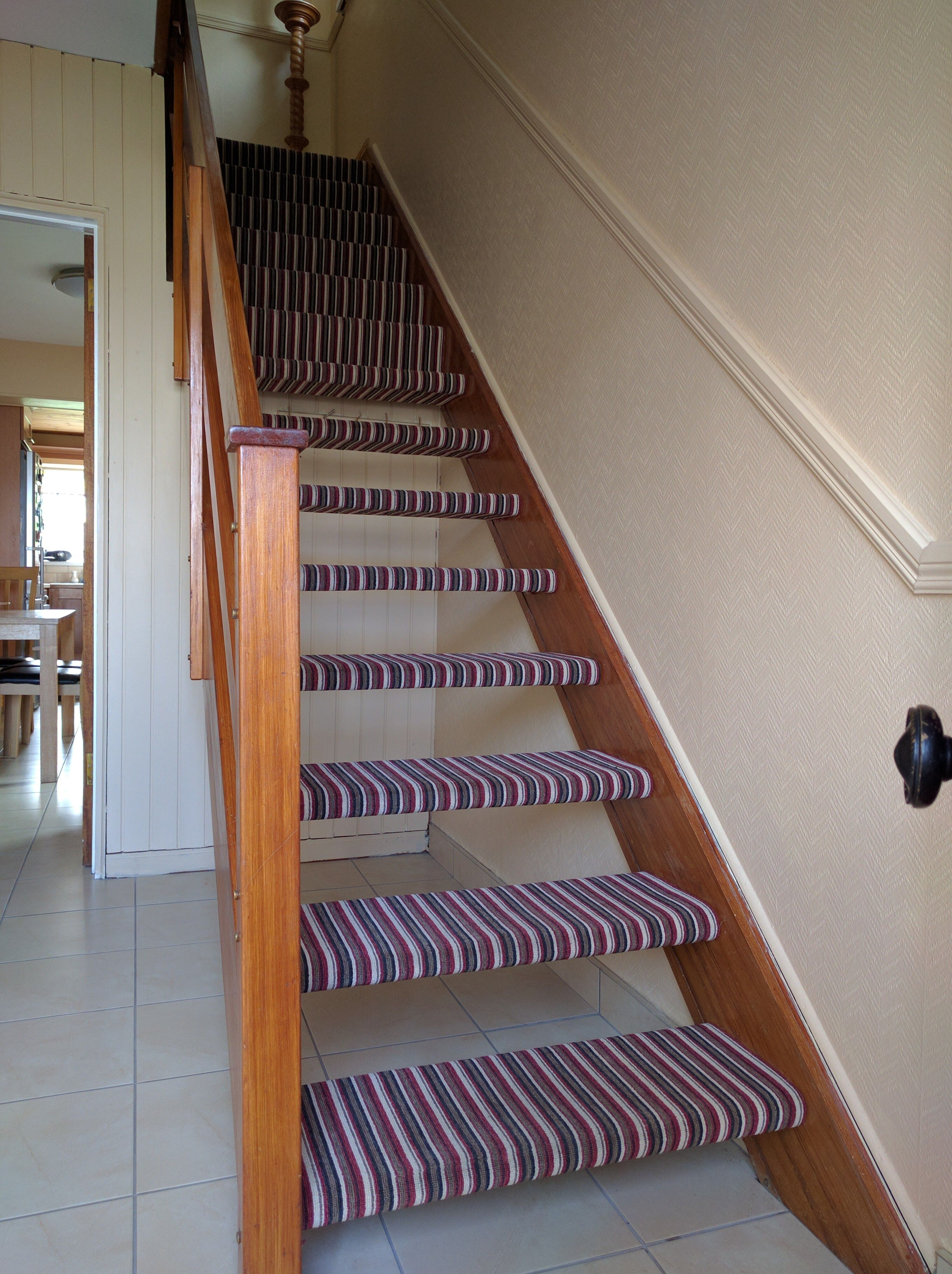 Best Open Staircase With Red Stripe Carpet Striped Carpets 400 x 300