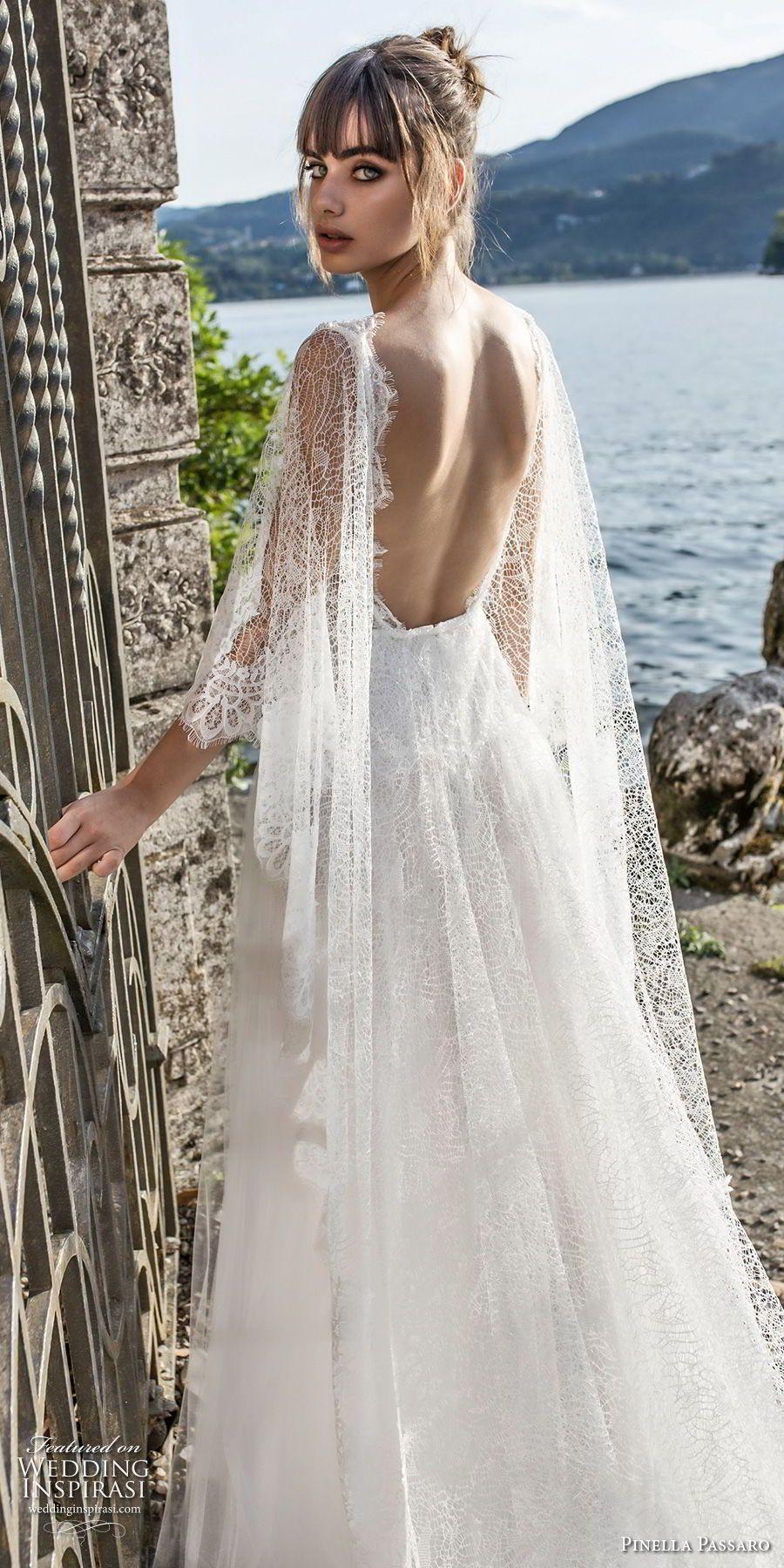Open back lace wedding dresses  pinella passaro  bridal half cornet sleeves v neck heavily