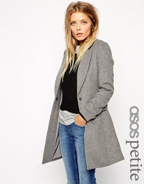 ASOS PETITE Exclusive Slim Coat In Soft Texture | Wanted