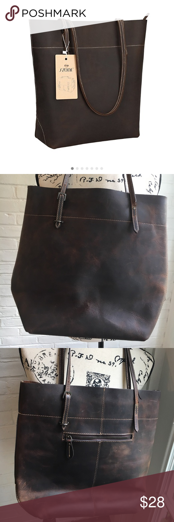Leather Tote Purse W Cloth Protector Euc