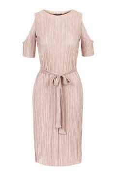 PETITE Pleat Cold Shoulder Dress