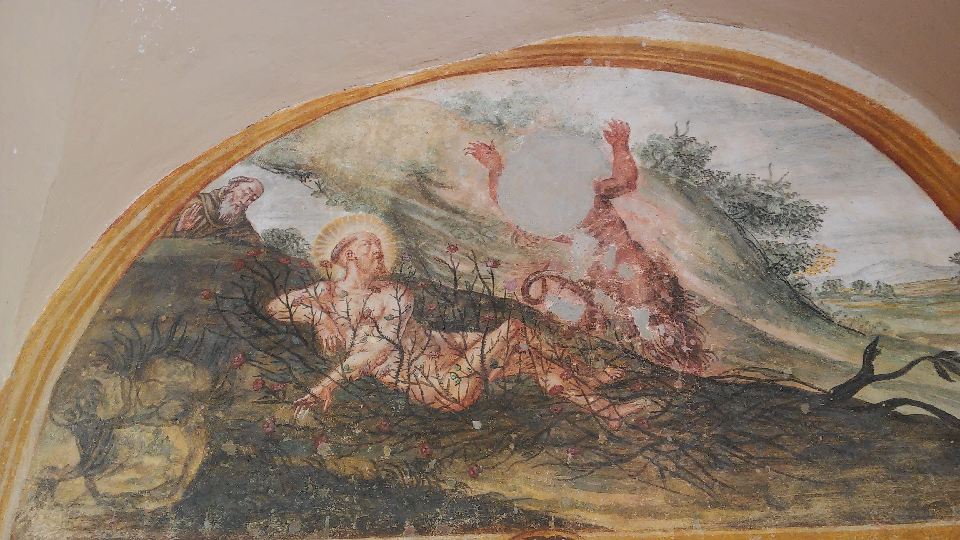 pintura representando a Francisco resistiendo al tentador mediante los espinos
