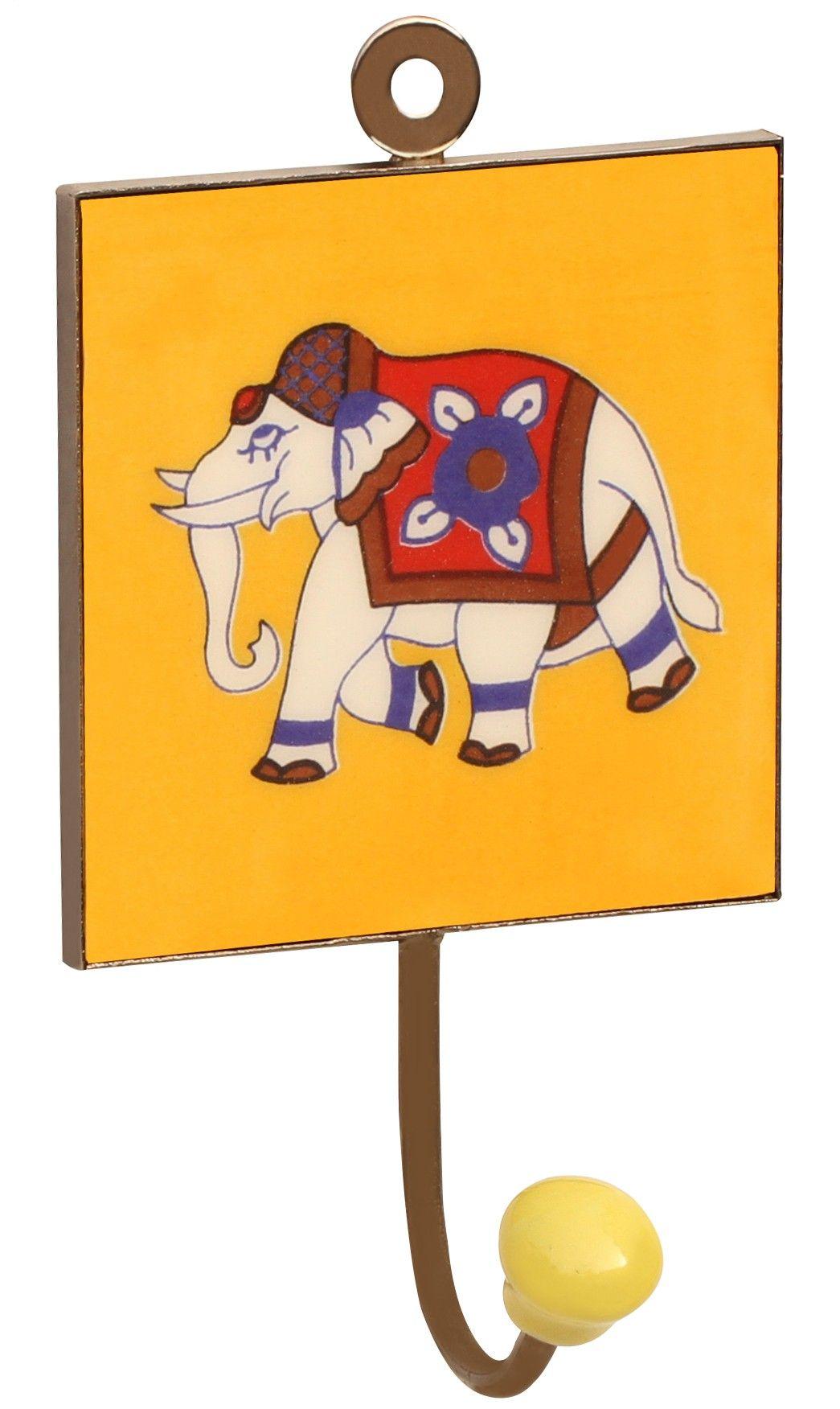 """Jumbo Tales - #Handmade 6.1"""" #Ceramic #Wall-Hook with #Elephant ..."""