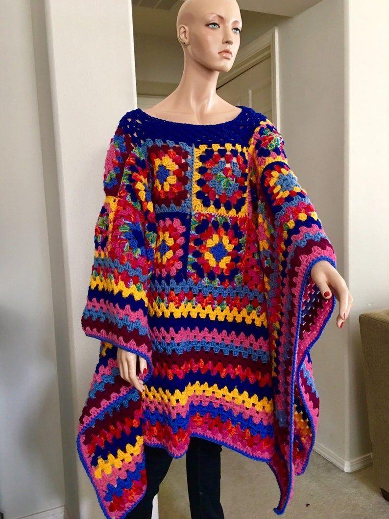 Patch work crochet poncho/ Granny square blanket poncho/ RESERVED #grannysquareponcho Patch work crochet poncho/ Granny square blanket poncho/   Etsy #grannysquareponcho