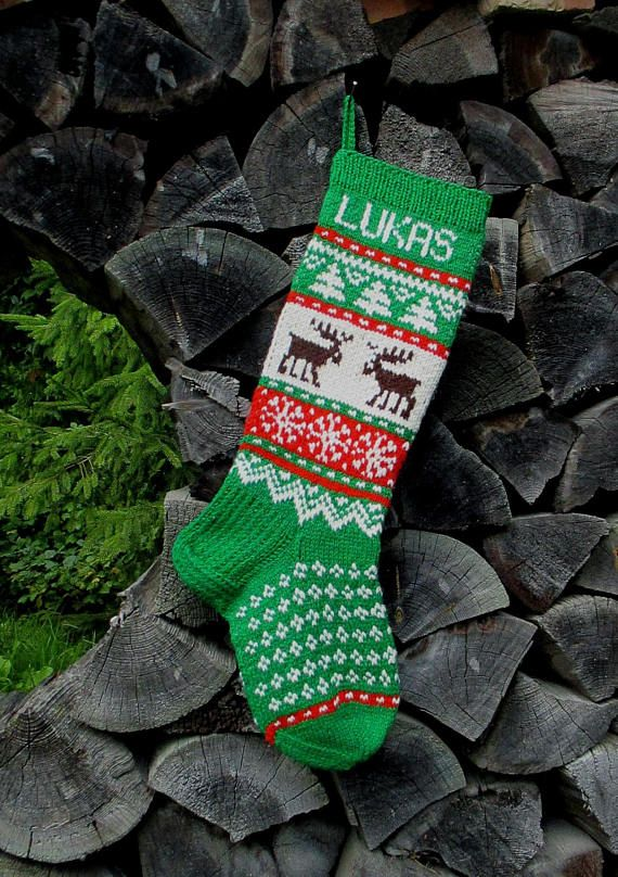 Can be personalized 100 /% Wool EVERGREEN  Christmas Stocking Hand Knit