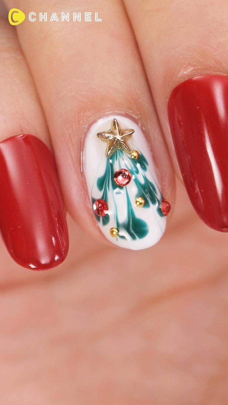 ピーコックで作る♡クリスマスツリーネイル | C CHANNEL