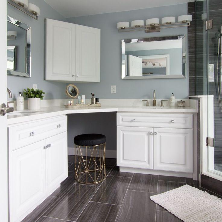 double lshaped vanity in elegant master bathroom ensuite