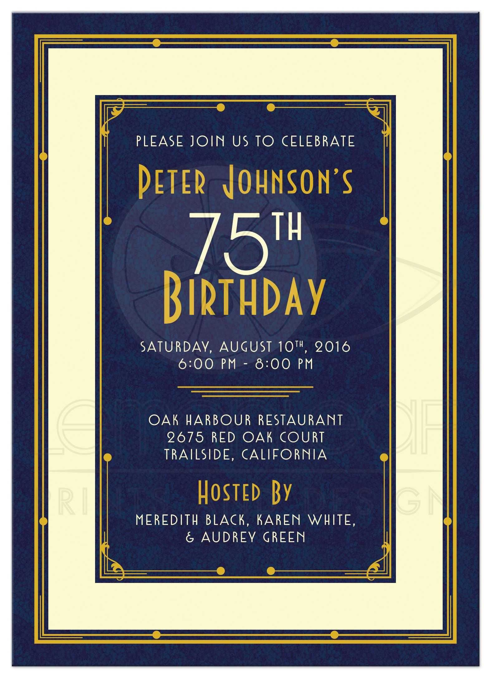 Mans 75th birthday invitation art deco navy blue and gold elegant navy blue gold and ivory art deco mans 75th birthday invitation front filmwisefo