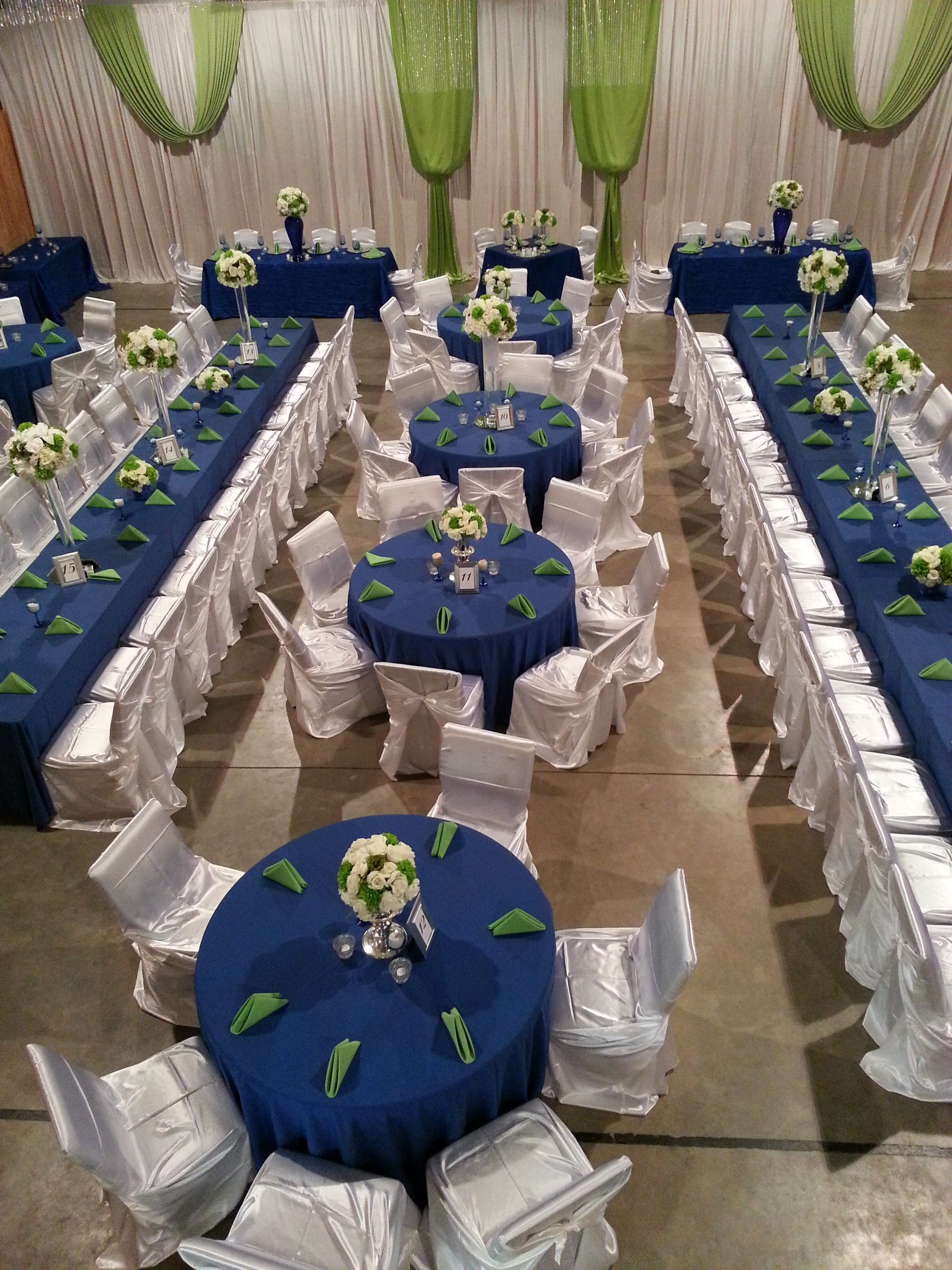 Gym Wedding Reception Apple Green And Royal Blue Estate Tables