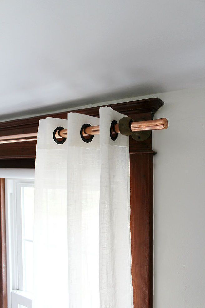 Thrifty Copper Pipe Curtain Rod Master Bedroom Inspiration