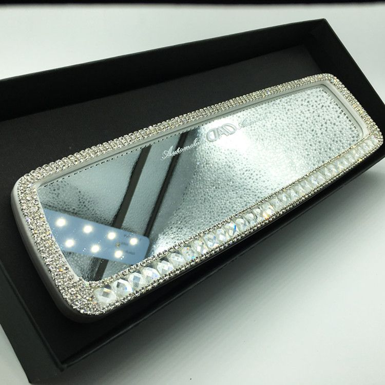 Photo of Bling Car Rearview Mirror Rhinestone crystal Cover Rear View