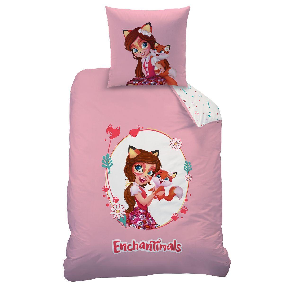 Parure De Lit Enfant En Pur Coton Enchantimals Fox Taille 140x200 Cm Housse De Couette Enfant Housse De Couette Parure De Lit Enfant