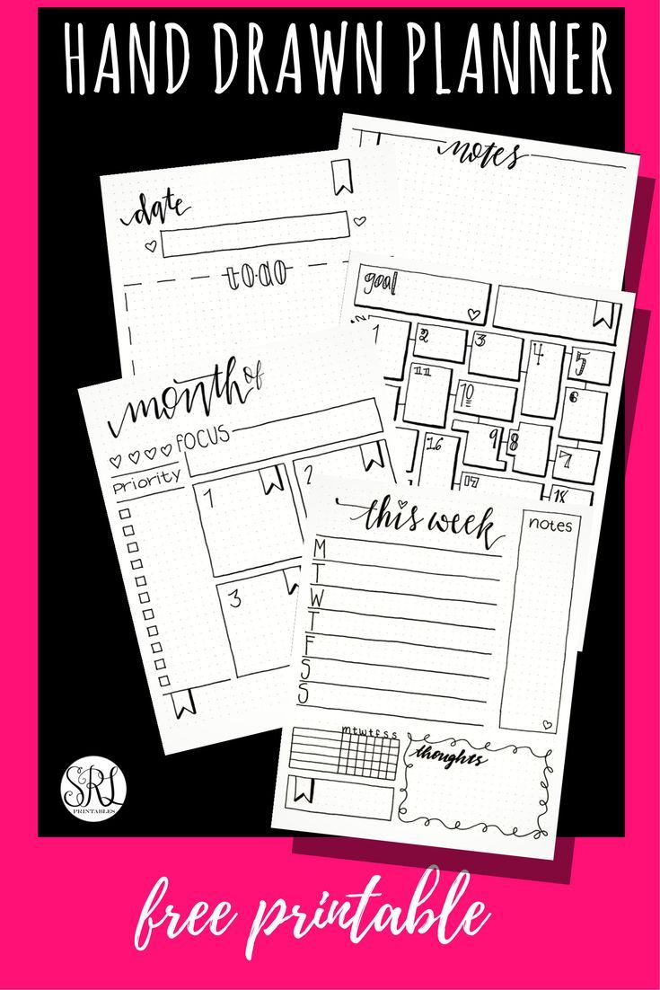 Free printable hand drawn bullet journal inserts. Letter, A5, and ...