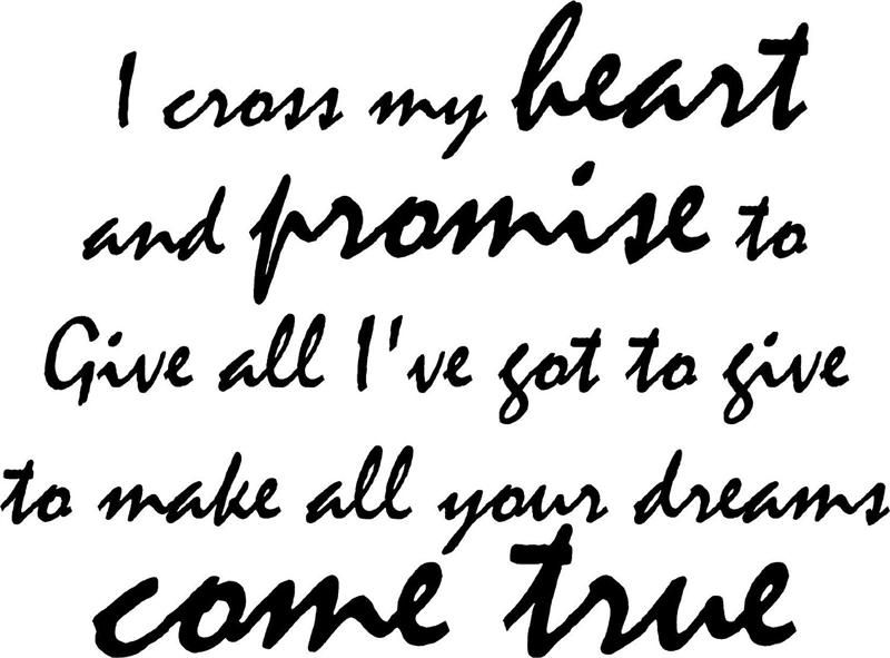 I Cross My Heart And Promise To Give All I Ve Got To Give Vinyl Wall Decal 22 X 10 5 12 99 Text For Her Vinyl Wall Decal Quote Country Quotes