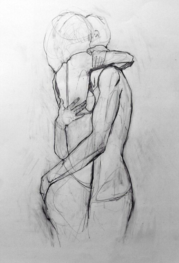 Art boy couple drawing girl hug pencil sketch