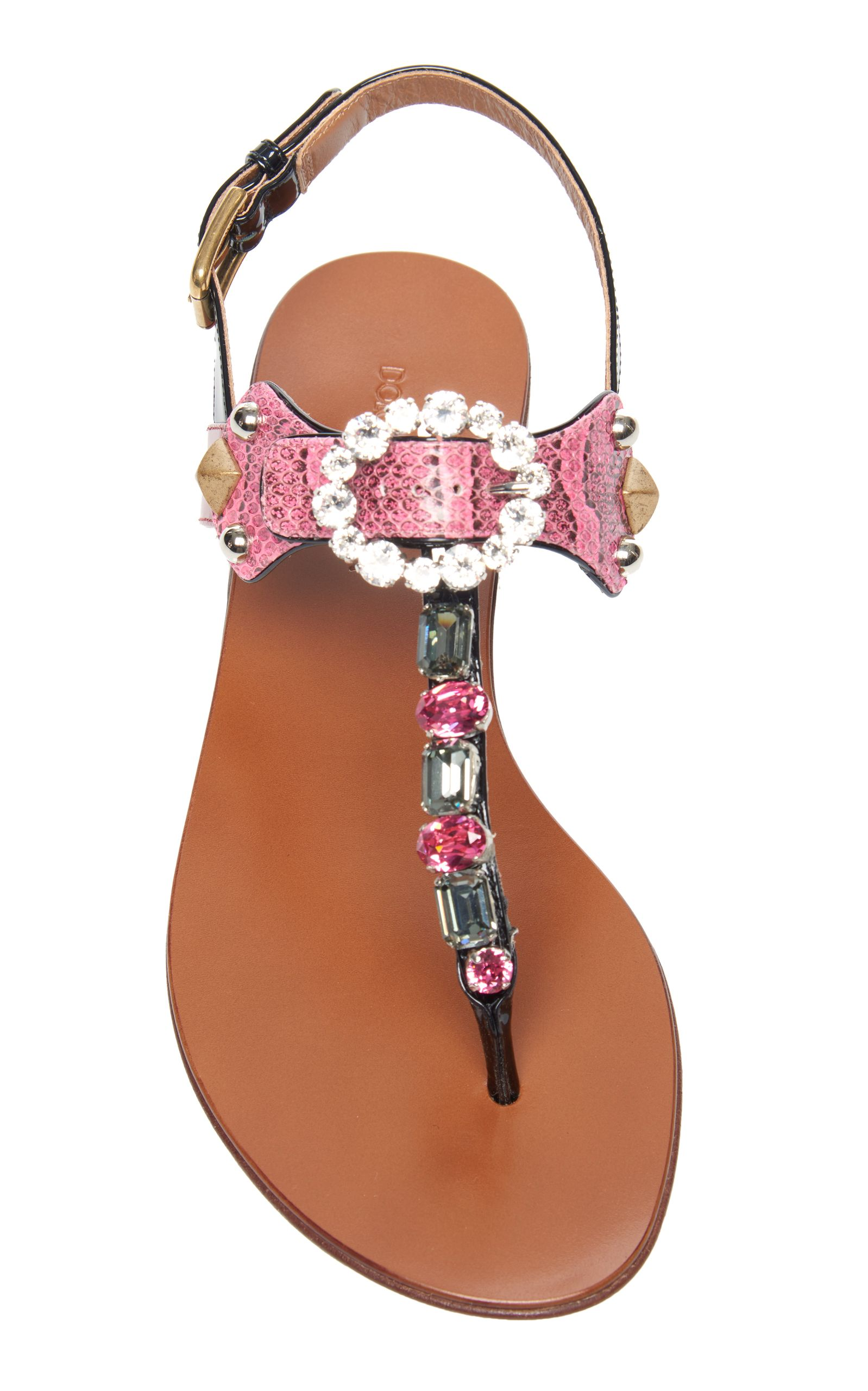 Embellished Snake and Leather Sandals Dolce & Gabbana ZQqfHcTTu