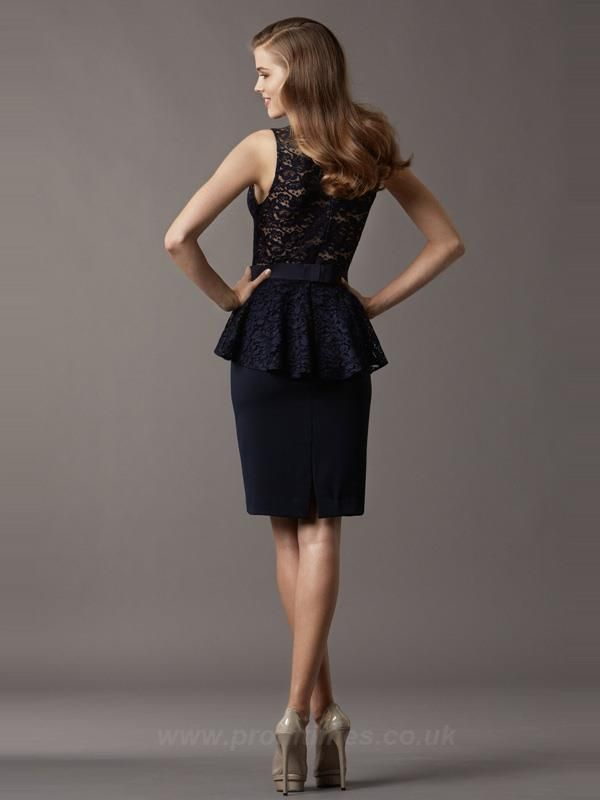 Scoop Sleeveless Knee-length Dark Navy Evening Dresses ED0571