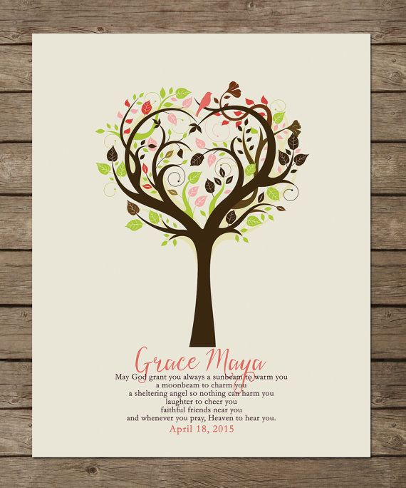 tree Angel for baptism customizable prints babyshower