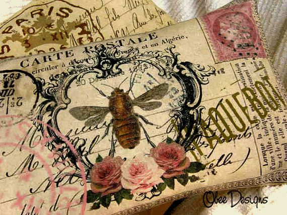 Vintage French Crested Bee Postcard
