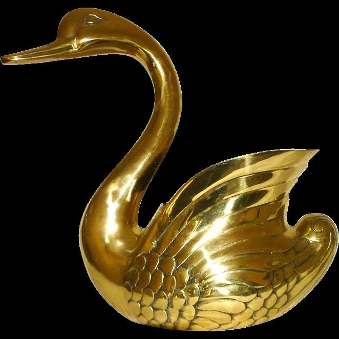 Planter, Brass Swan, Large